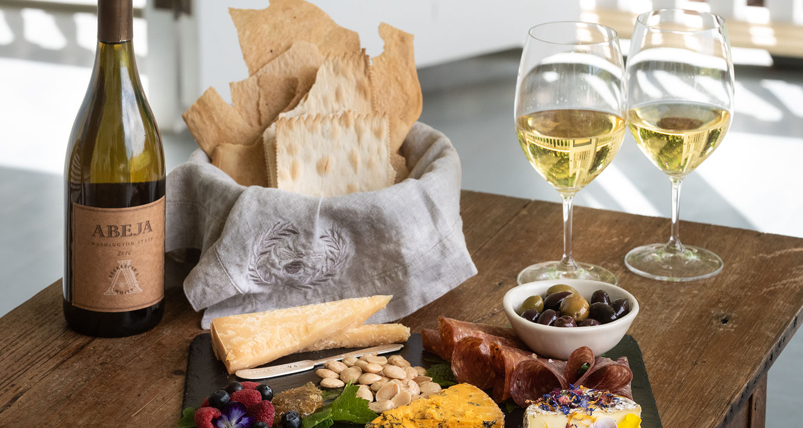 White wine and cheese plate